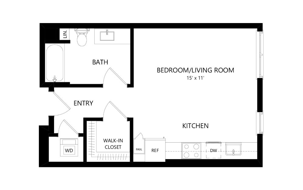 A-13 - Studio floorplan layout with 1 bath and 509 square feet.