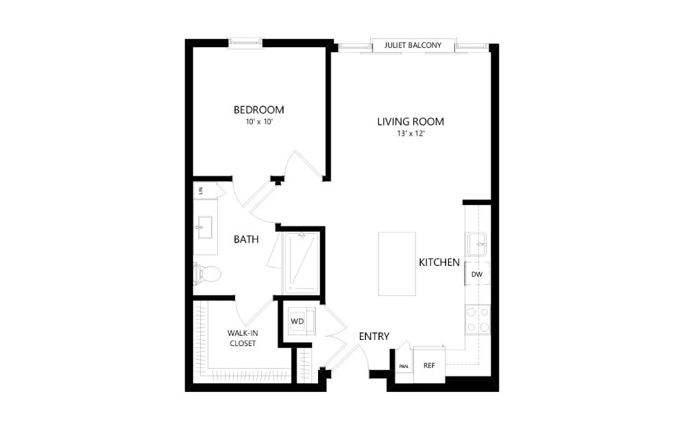 B-11 - 1 bedroom floorplan layout with 1 bath and 743 square feet.