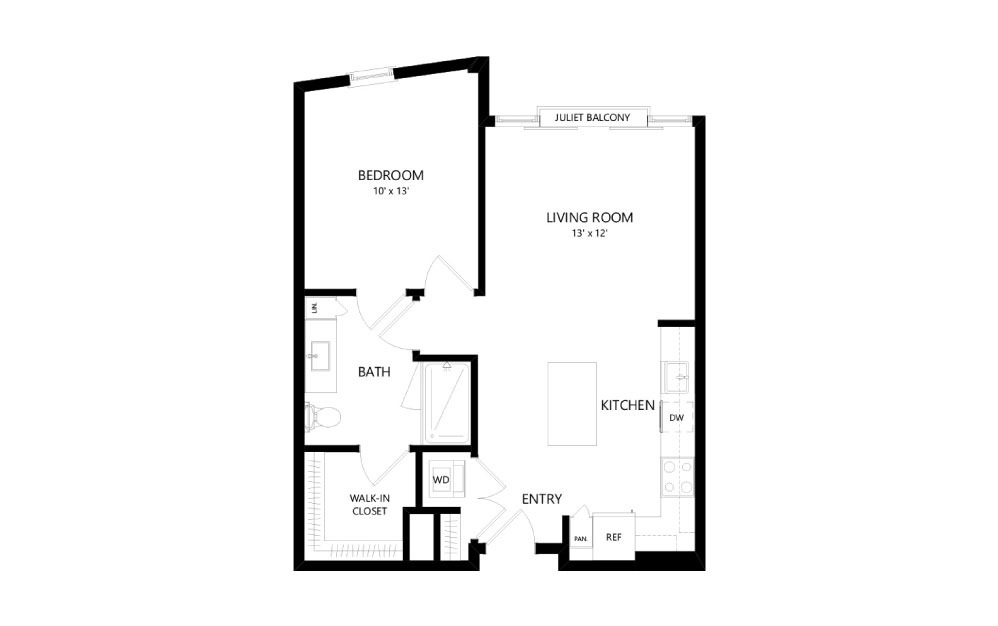 B-11b - 1 bedroom floorplan layout with 1 bath and 731 square feet.