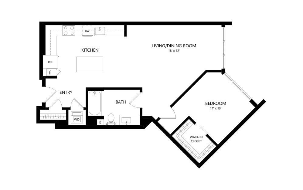 B-12 - 1 bedroom floorplan layout with 1 bath and 864 square feet.