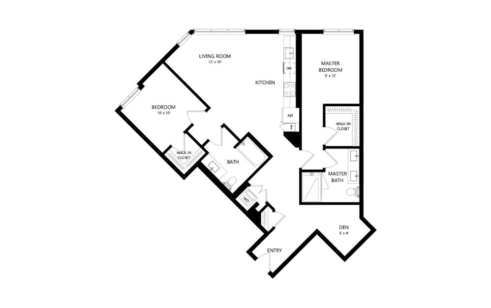 C-11 - 2 bedroom floorplan layout with 2 baths and 1205 square feet.