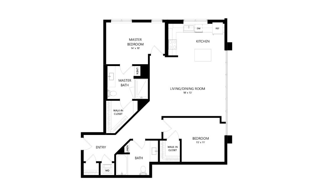 C-12 - 2 bedroom floorplan layout with 2 baths and 1180 square feet.