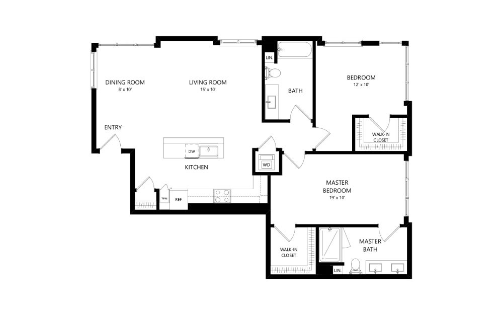 C-13 - 2 bedroom floorplan layout with 2 baths and 1318 square feet.