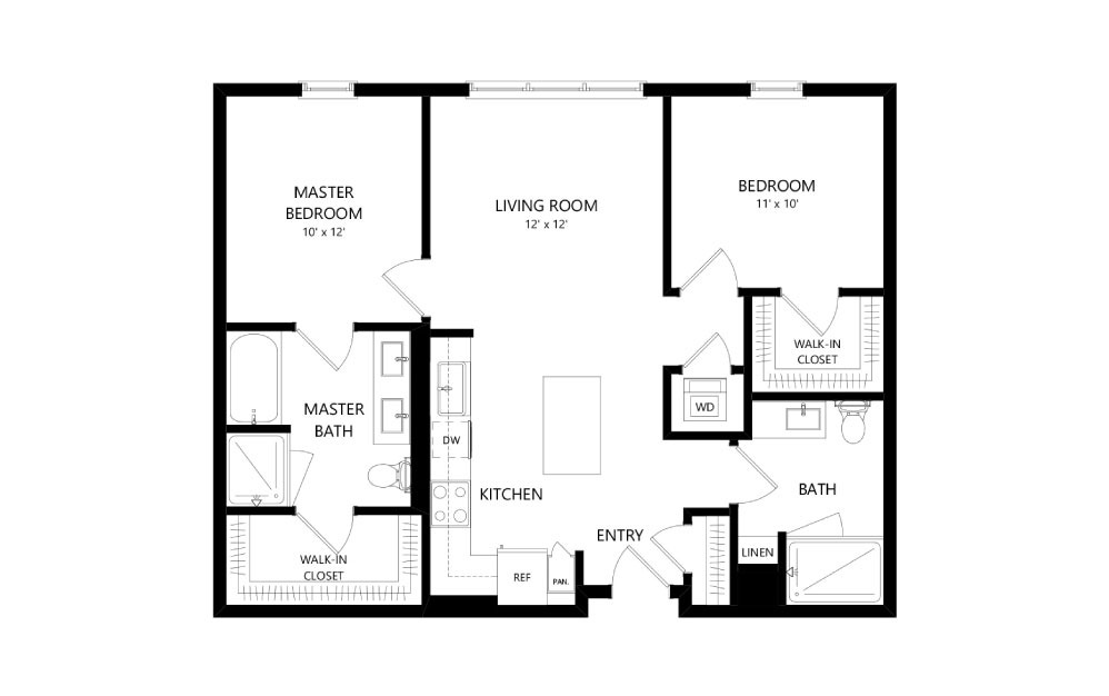 C-14 - 2 bedroom floorplan layout with 2 baths and 1017 square feet.