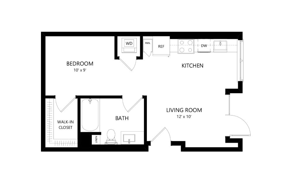 A-32 - Studio floorplan layout with 1 bath and 556 square feet.