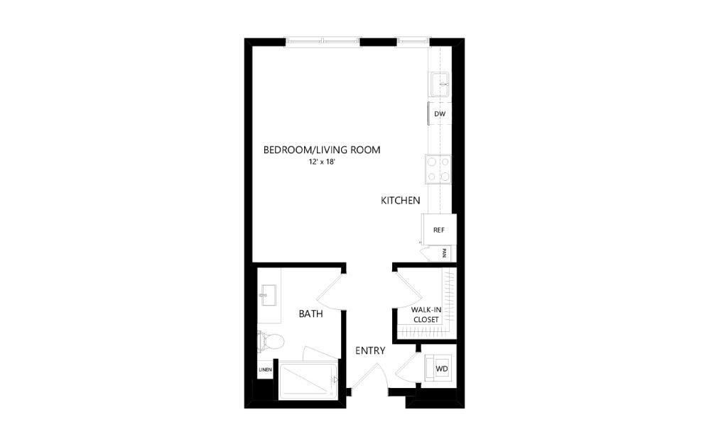 A-33 - Studio floorplan layout with 1 bath and 576 square feet.