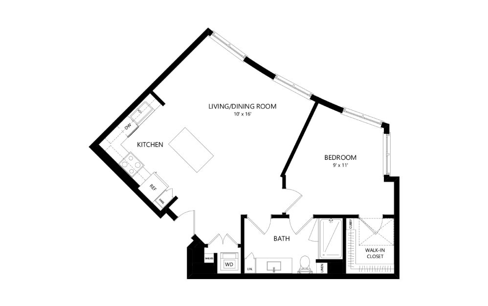 B-34 - 1 bedroom floorplan layout with 1 bath and 831 square feet.