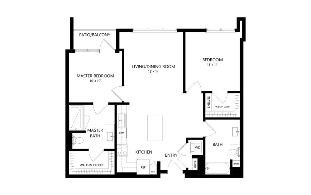 C-31 - 2 bedroom floorplan layout with 2 baths and 1043 square feet.