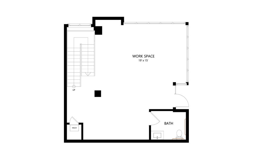 LW-02 Live/Work - Live Work floorplan layout with 1.5 bath and 1566 square feet. (Floor 2)