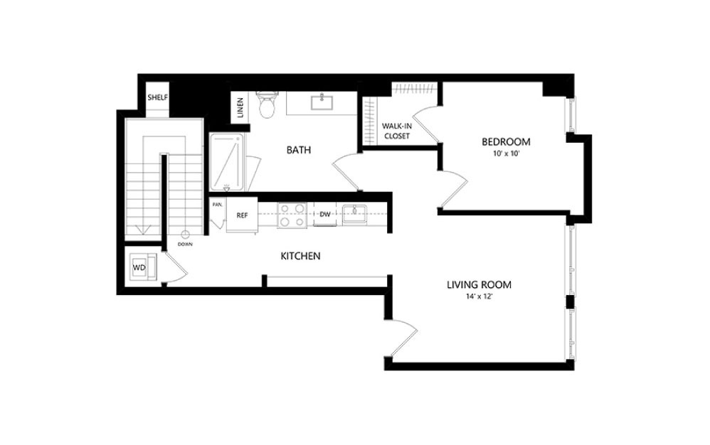 LW-03 Live/Work - Live Work floorplan layout with 1.5 bath and 1520 square feet. (Floor 1)