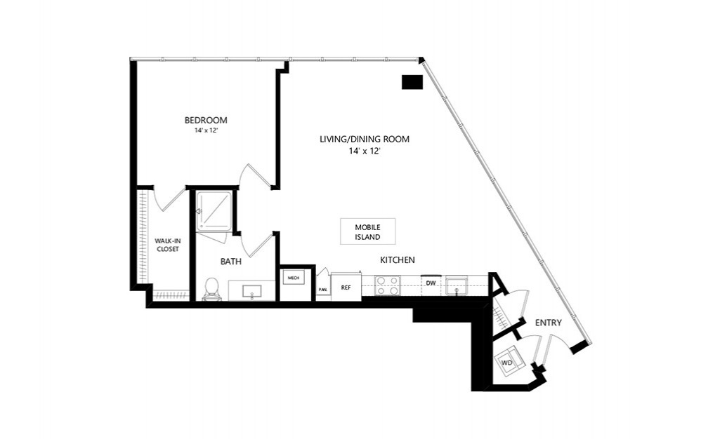Tower TB10b - 1 bedroom floorplan layout with 1 bath and 885 square feet.