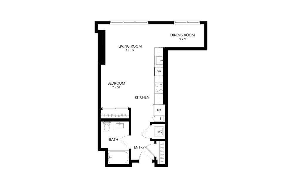 Tower A01 - Studio floorplan layout with 1 bath and 602 square feet.
