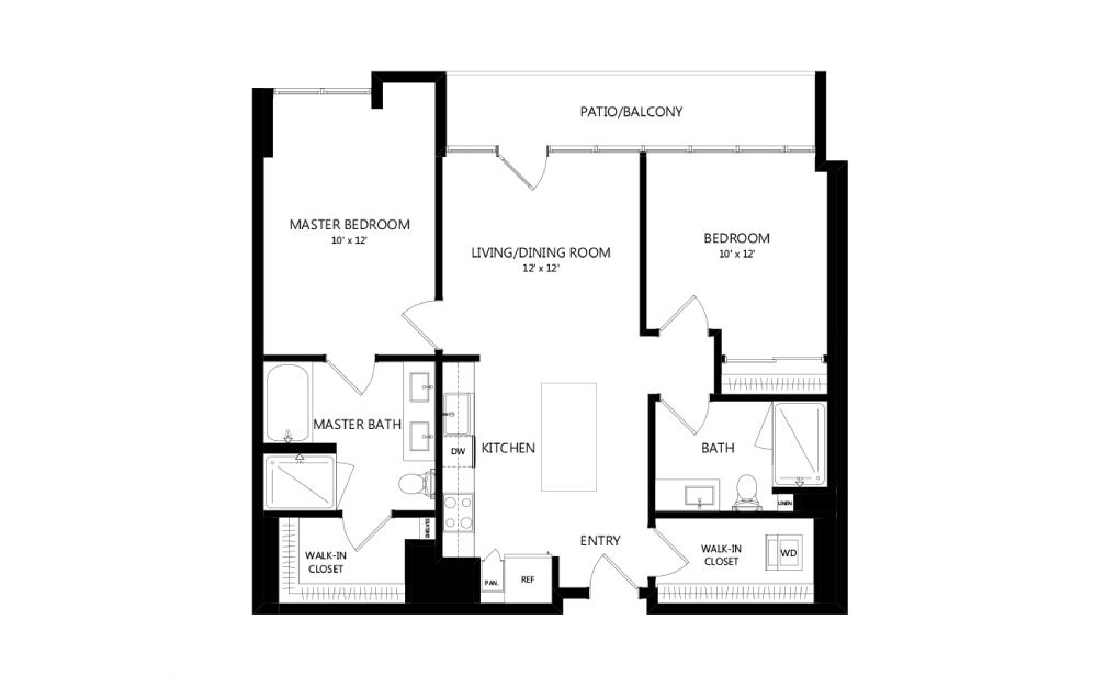 Tower C01b - 2 bedroom floorplan layout with 2 baths and 1087 square feet.