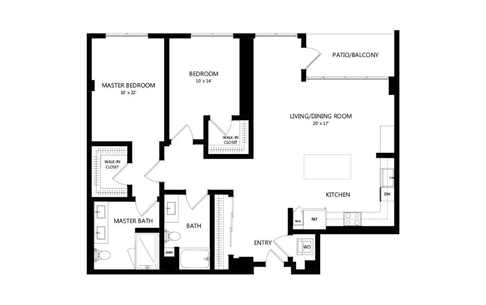 Tower C02 - 2 bedroom floorplan layout with 2 baths and 1349 square feet.