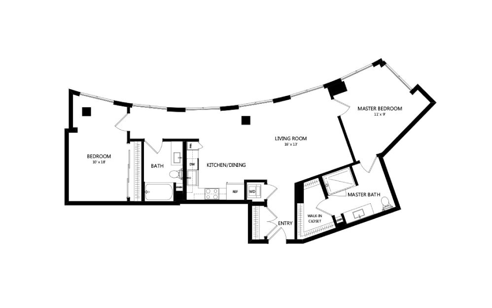 Tower C06 - 2 bedroom floorplan layout with 2 baths and 1245 square feet.