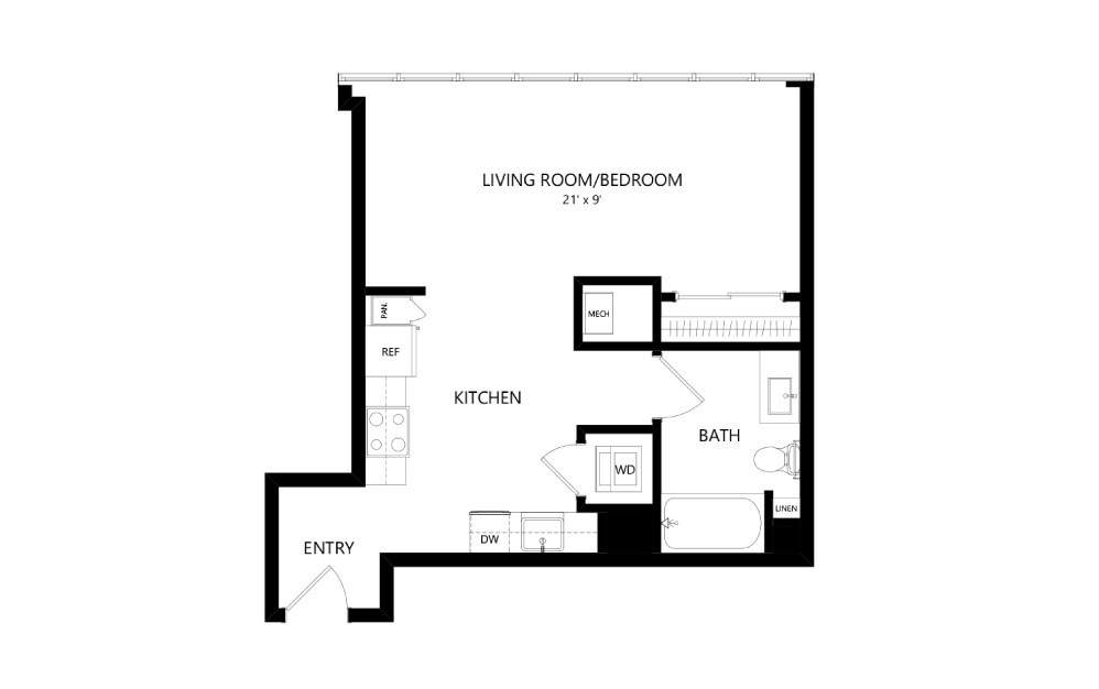 Tower TA05 - Studio floorplan layout with 1 bath and 560 square feet.