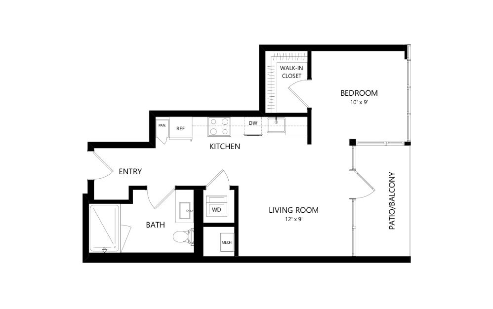 Tower TA07 - Studio floorplan layout with 1 bath and 557 square feet.