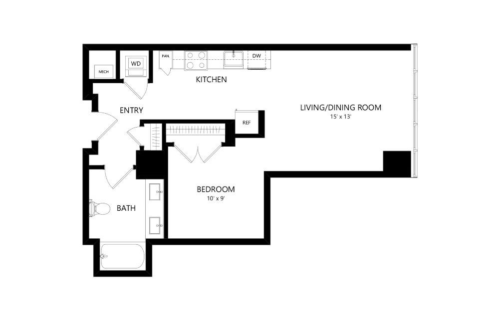 Tower TA08 - Studio floorplan layout with 1 bath and 652 square feet.