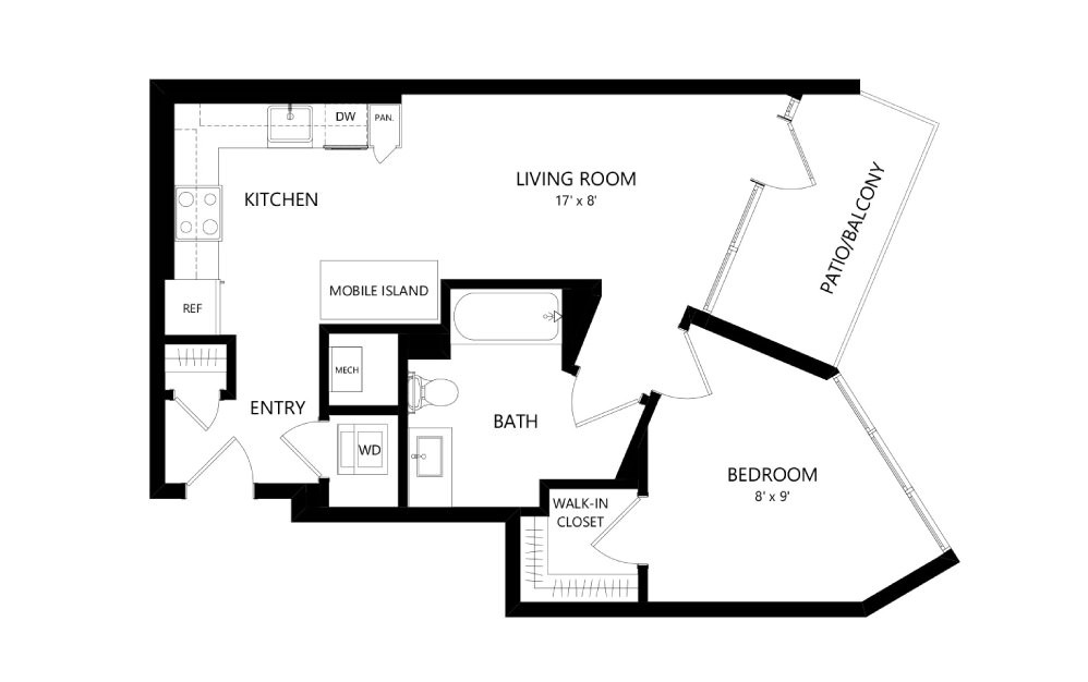 Tower TB03c - 1 bedroom floorplan layout with 1 bath and 642 square feet.