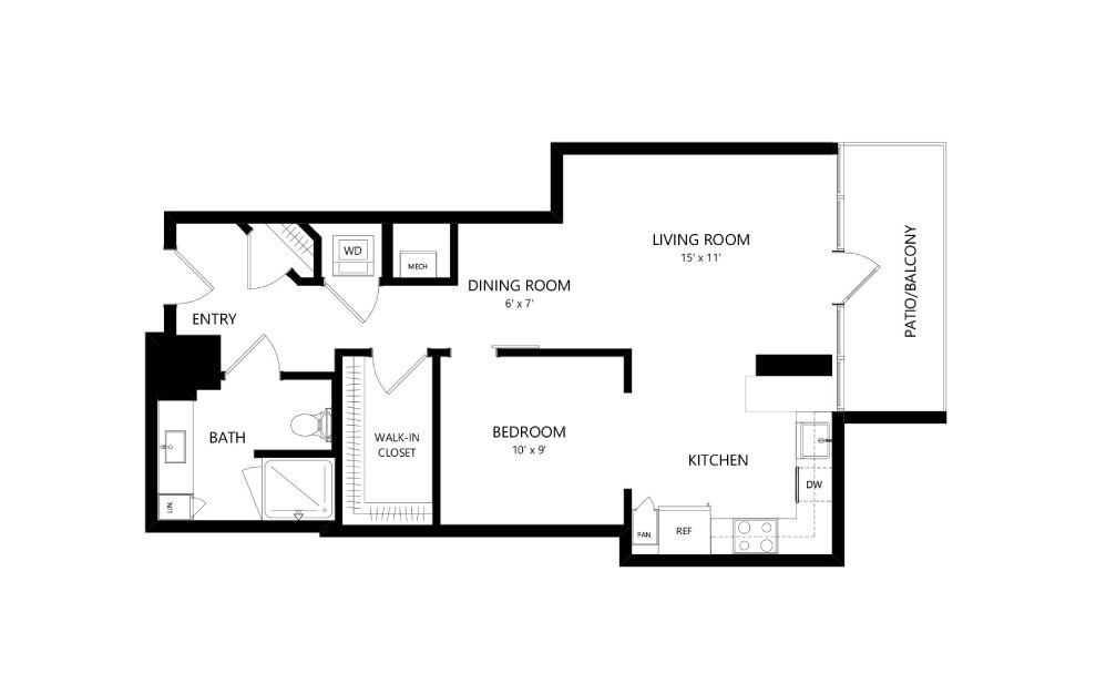 Tower TB05 - 1 bedroom floorplan layout with 1 bath and 770 square feet.