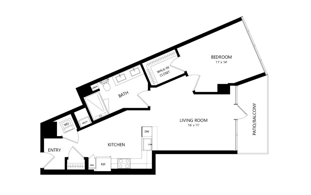Tower TB06 - 1 bedroom floorplan layout with 1 bath and 765 square feet.