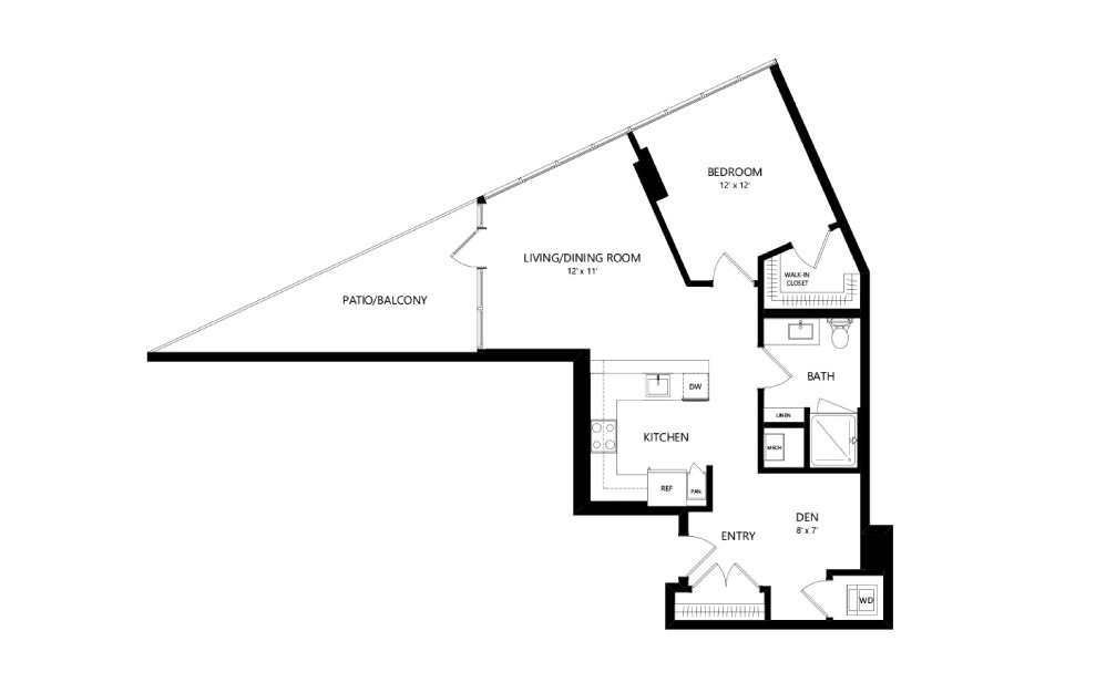 Tower T-B-07 - 1 bedroom floorplan layout with 1 bath and 835 square feet.