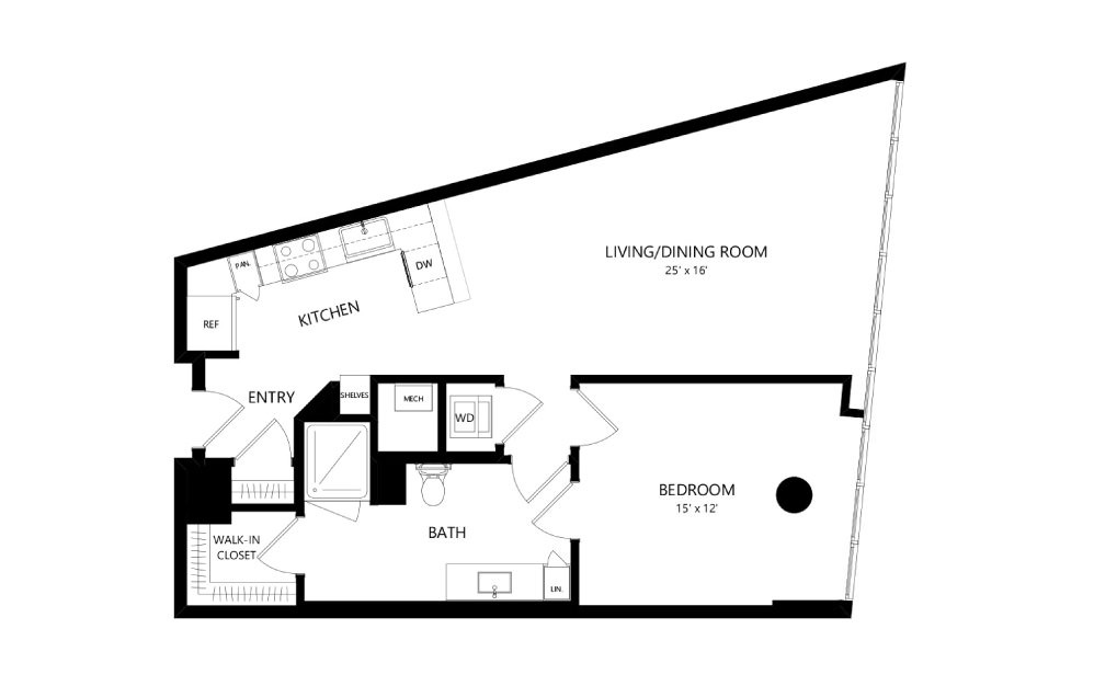 Tower TB08 - 1 bedroom floorplan layout with 1 bath and 886 square feet.