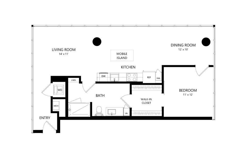 Tower TB09 - 1 bedroom floorplan layout with 1 bath and 907 square feet.