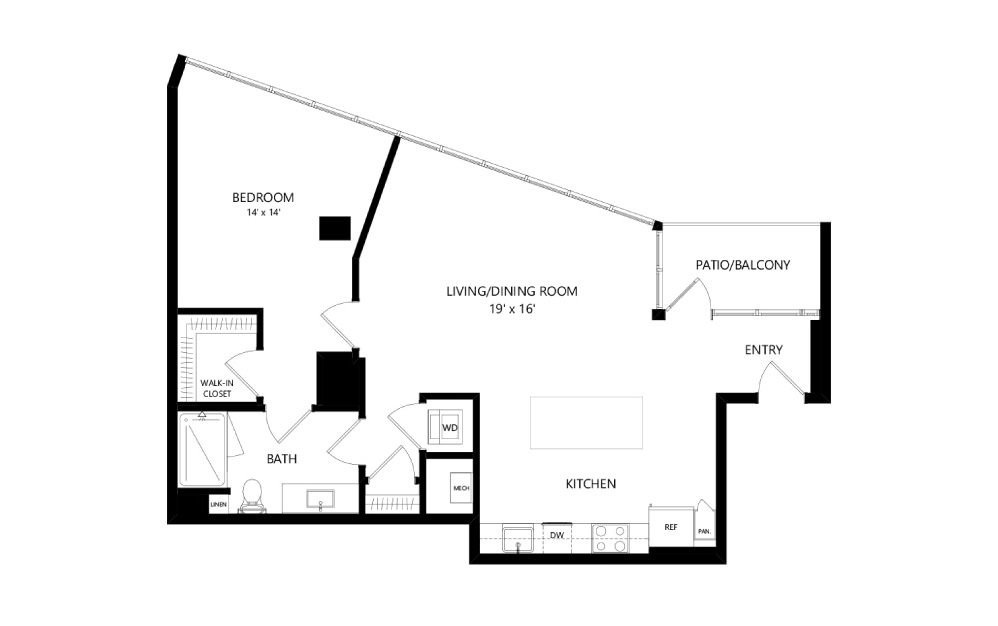 Tower TB15 - 1 bedroom floorplan layout with 1 bath and 928 square feet.