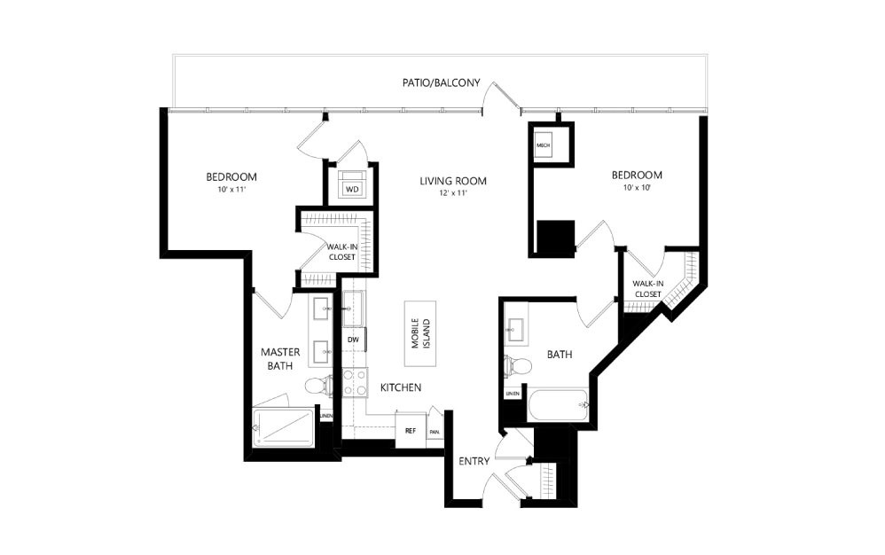 Tower TC10 - 2 bedroom floorplan layout with 2 baths and 1058 square feet.