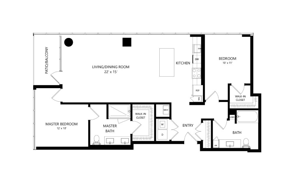 Tower TC11 - 2 bedroom floorplan layout with 2 baths and 1297 square feet.