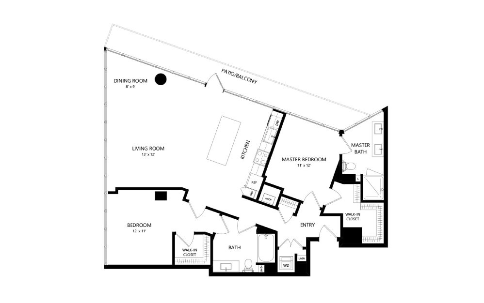 Tower TC12 - 2 bedroom floorplan layout with 2 baths and 1395 square feet.