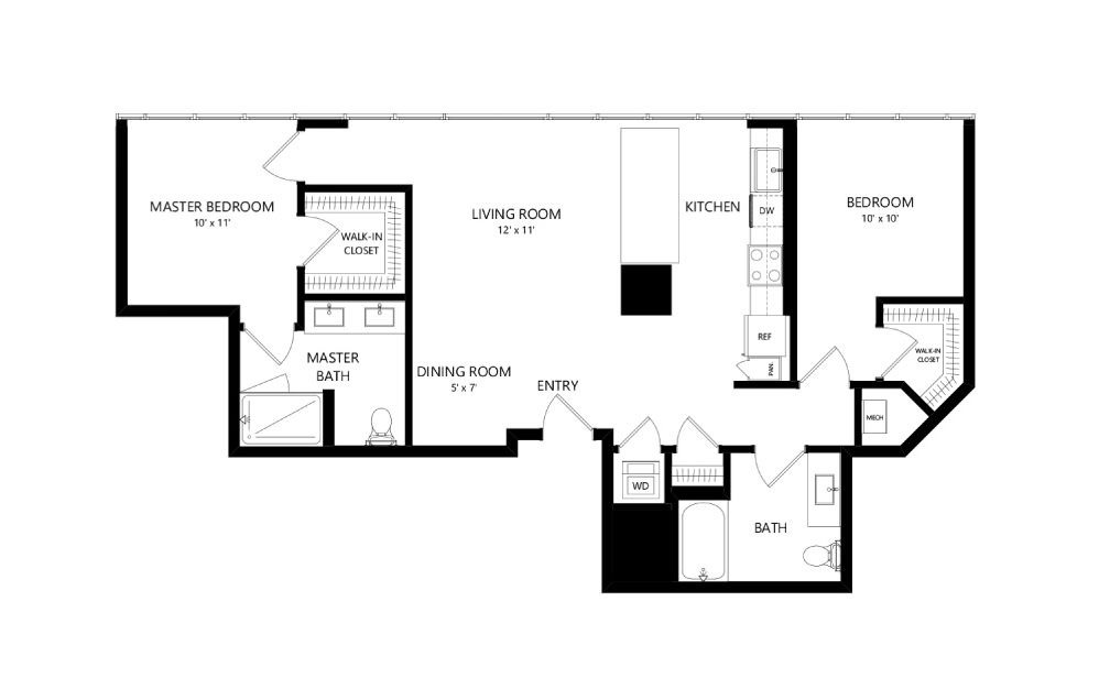 Tower TC15 - 2 bedroom floorplan layout with 2 baths and 1092 square feet.